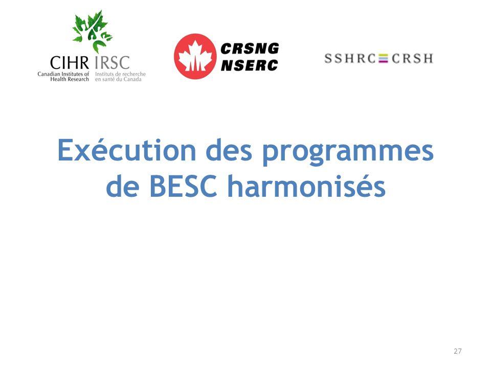 Exécution des programmes de BESC harmonisés 27