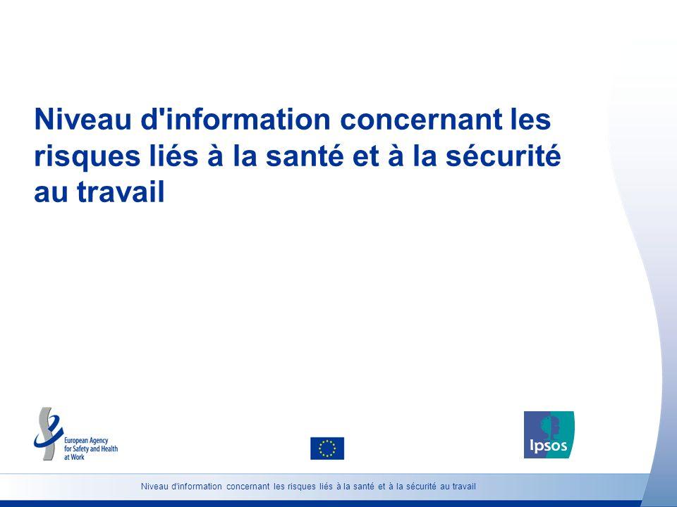 Niveau d'information concernant les risques liés à la santé et à la sécurité au travail