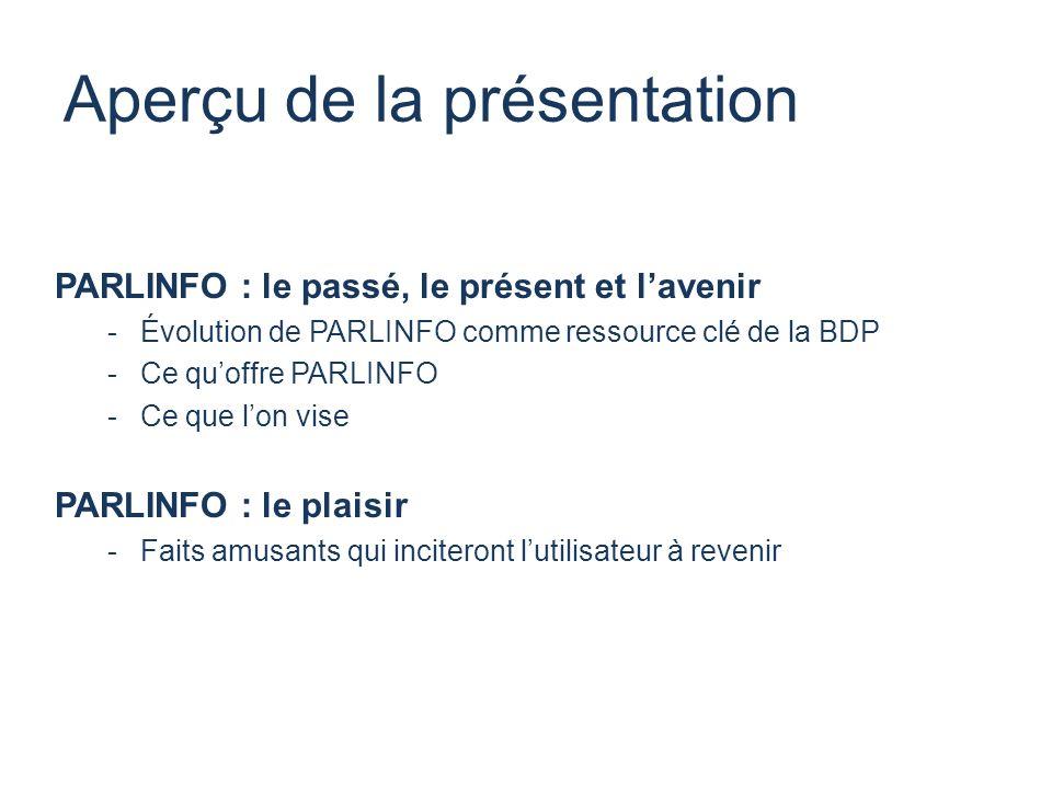 Aperçu de la présentation PARLINFO : le passé, le présent et lavenir -Évolution de PARLINFO comme ressource clé de la BDP -Ce quoffre PARLINFO -Ce que lon vise PARLINFO : le plaisir -Faits amusants qui inciteront lutilisateur à revenir
