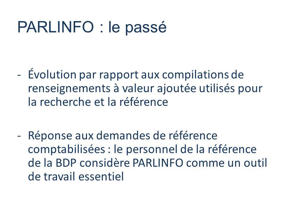 -Évolution par rapport aux compilations de renseignements à valeur ajoutée utilisés pour la recherche et la référence -Réponse aux demandes de référence comptabilisées : le personnel de la référence de la BDP considère PARLINFO comme un outil de travail essentiel PARLINFO : le passé