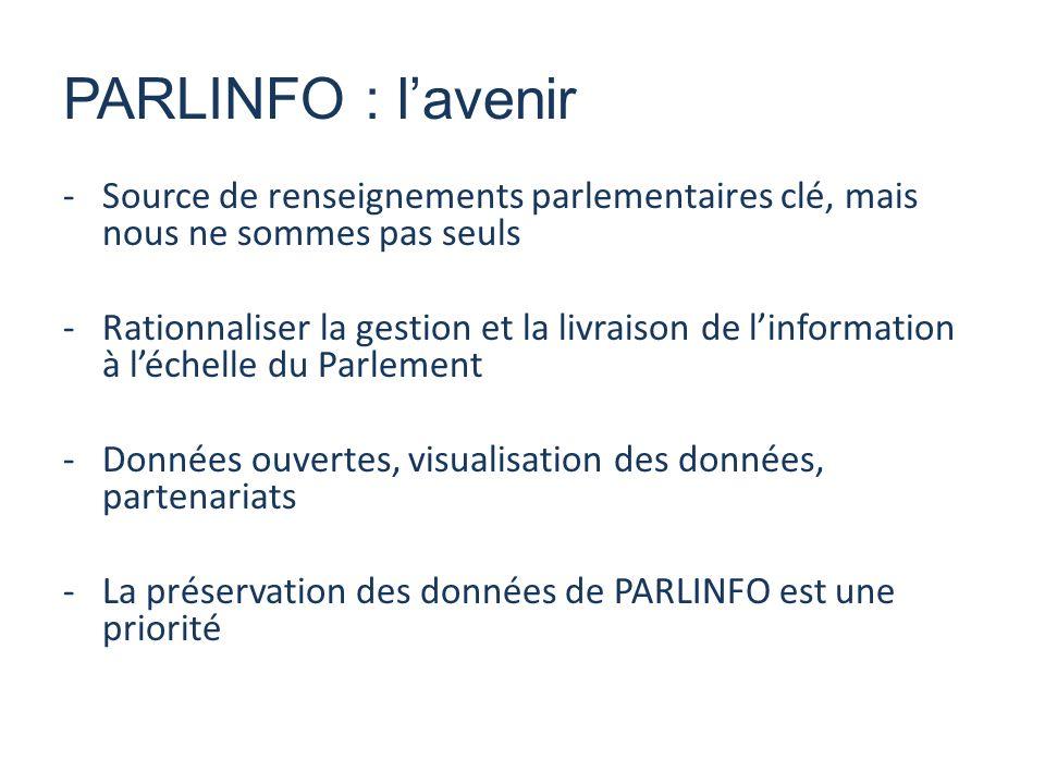 -Source de renseignements parlementaires clé, mais nous ne sommes pas seuls -Rationnaliser la gestion et la livraison de linformation à léchelle du Parlement -Données ouvertes, visualisation des données, partenariats -La préservation des données de PARLINFO est une priorité PARLINFO : lavenir