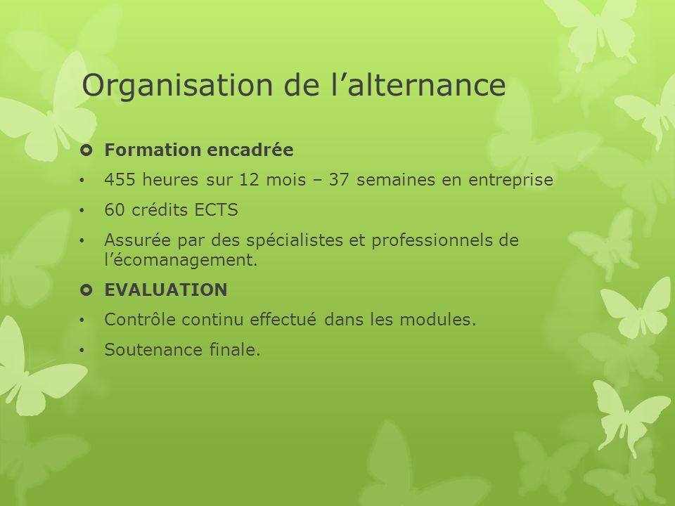 Organisation de lalternance Formation encadrée 455 heures sur 12 mois – 37 semaines en entreprise 60 crédits ECTS Assurée par des spécialistes et professionnels de lécomanagement.