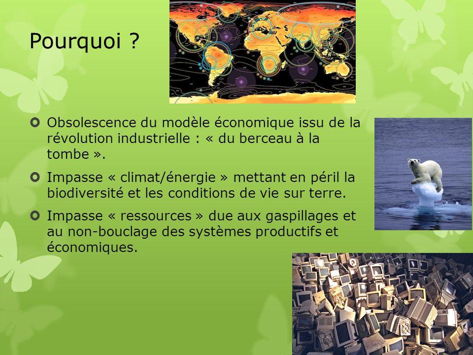 Pourquoi ? Obsolescence du modèle économique issu de la révolution industrielle : « du berceau à la tombe ». Impasse « climat/énergie » mettant en pér