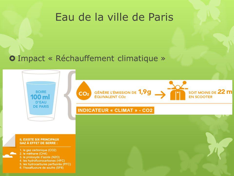 Eau de la ville de Paris Impact « Réchauffement climatique »