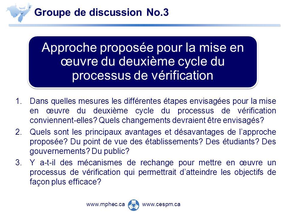 www.cespm.cawww.mphec.ca Groupe de discussion No.3 1.Dans quelles mesures les différentes étapes envisagées pour la mise en œuvre du deuxième cycle du processus de vérification conviennent-elles.