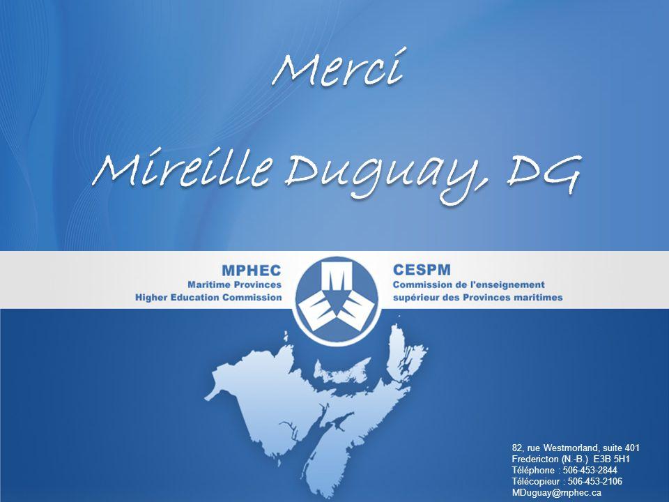 www.cespm.cawww.mphec.ca Merci Mireille Duguay, DG Merci Mireille Duguay, DG 82, rue Westmorland, suite 401 Fredericton (N.-B.) E3B 5H1 Téléphone : 506-453-2844 Télécopieur : 506-453-2106 MDuguay@mphec.ca