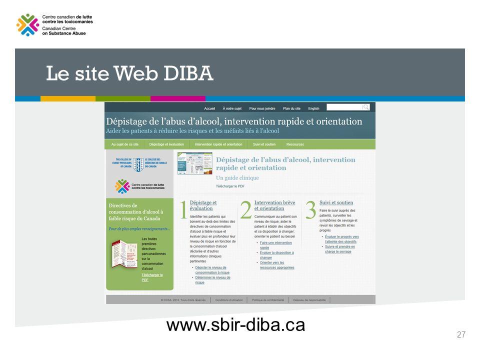 Le site Web DIBA www.sbir-diba.ca 27