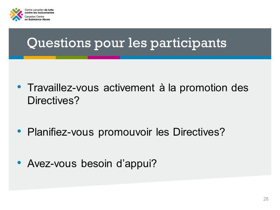 Questions pour les participants Travaillez-vous activement à la promotion des Directives? Planifiez-vous promouvoir les Directives? Avez-vous besoin d