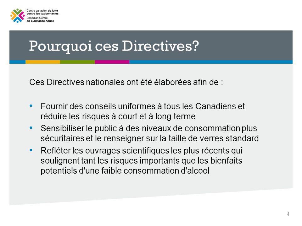Pourquoi ces Directives? Ces Directives nationales ont été élaborées afin de : Fournir des conseils uniformes à tous les Canadiens et réduire les risq
