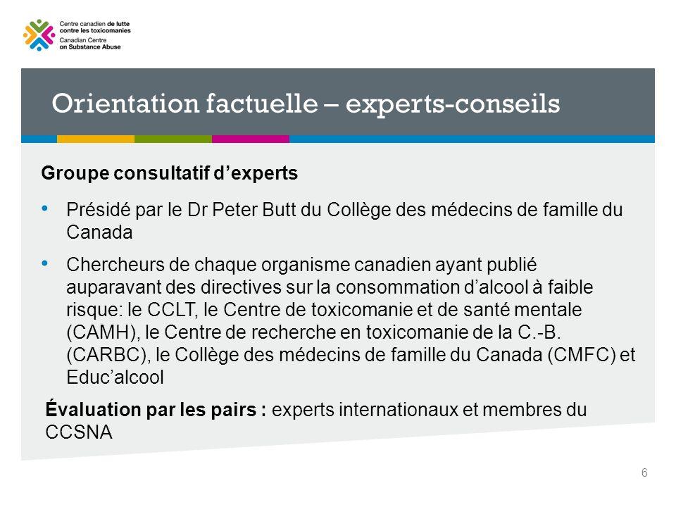 Groupe consultatif dexperts Présidé par le Dr Peter Butt du Collège des médecins de famille du Canada Chercheurs de chaque organisme canadien ayant pu