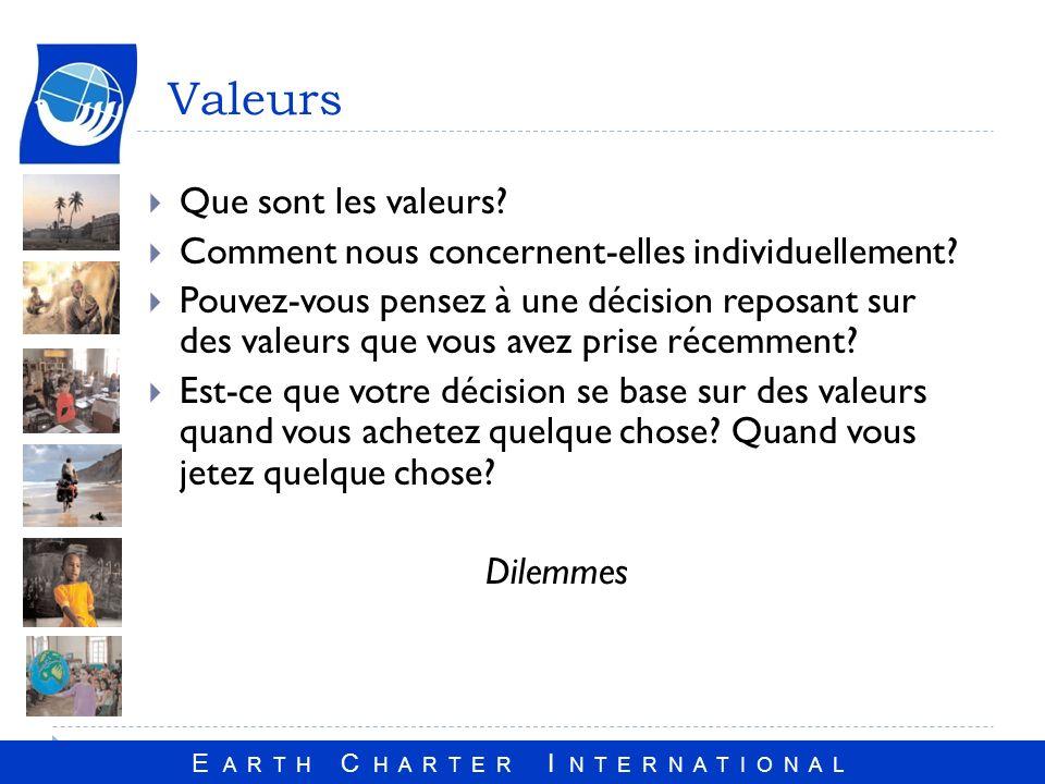 E A R T H C H A R T E R I N T E R N A T I O N A L Valeurs Que sont les valeurs.
