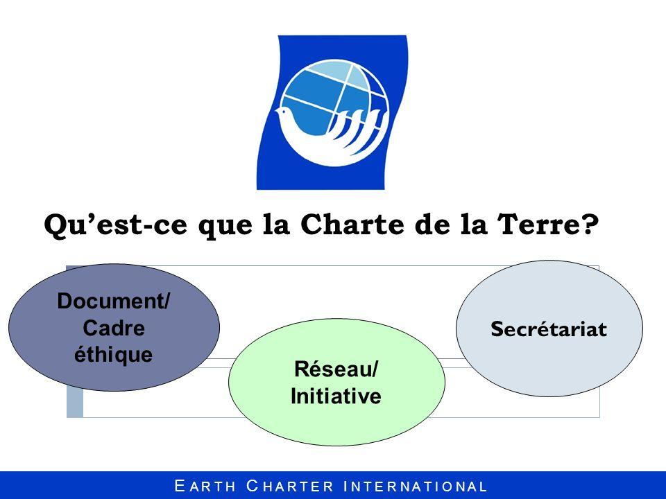Intégrité Écologique Justice Économique et Sociale Démocratie, Non-violence et Paix Démocratie, Non-violence et Paix Respect et Protection de la Communauté de la Vie La nature Systémique de la Charte de la Terre