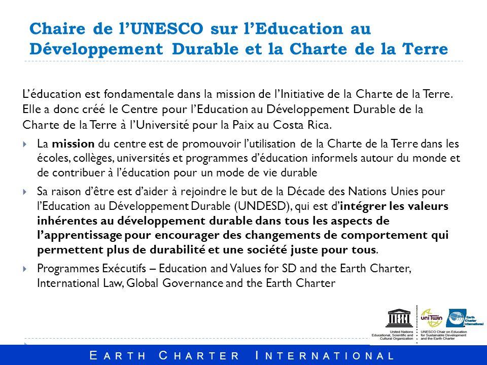 E A R T H C H A R T E R I N T E R N A T I O N A L Chaire de lUNESCO sur lEducation au Développement Durable et la Charte de la Terre Léducation est fondamentale dans la mission de lInitiative de la Charte de la Terre.