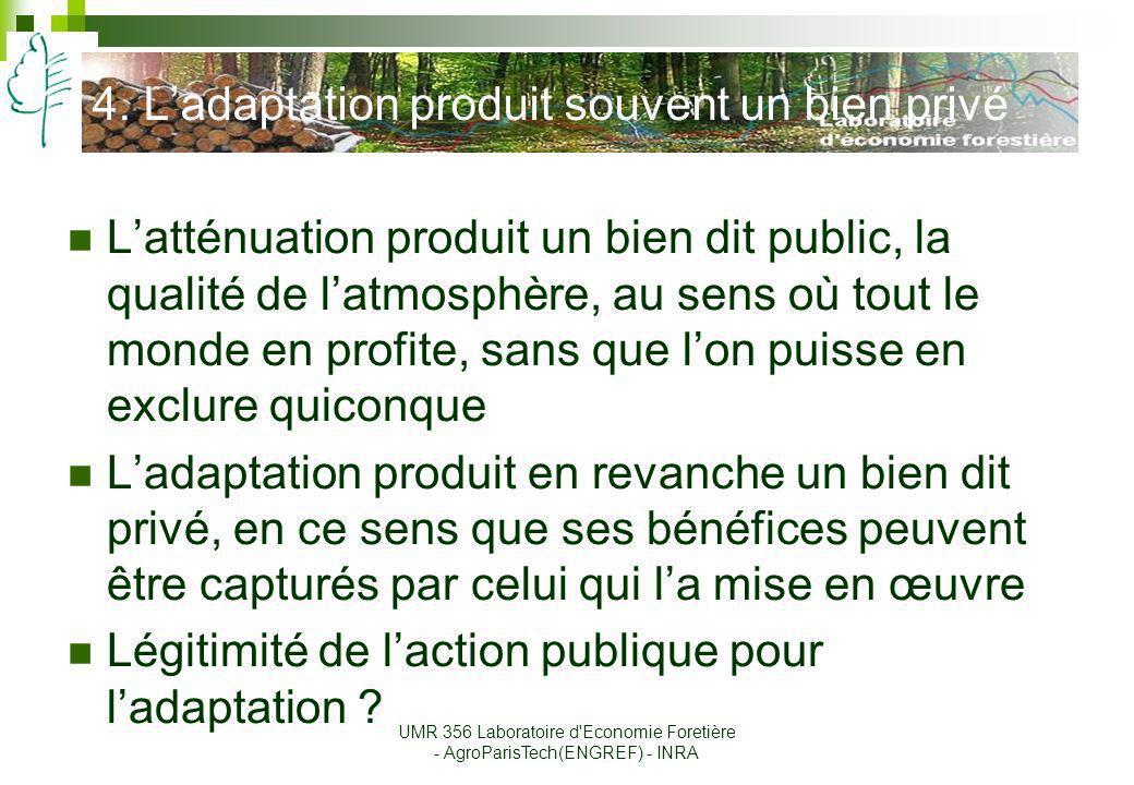4. Ladaptation produit souvent un bien privé Latténuation produit un bien dit public, la qualité de latmosphère, au sens où tout le monde en profite,