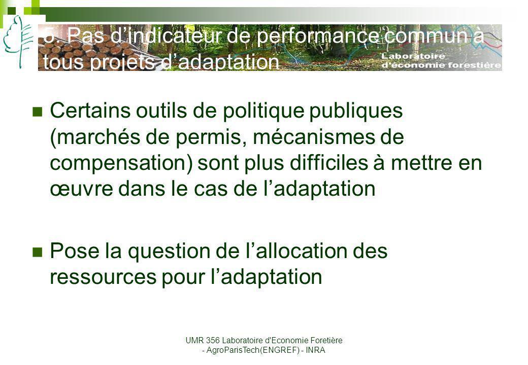 5. Pas dindicateur de performance commun à tous projets dadaptation Certains outils de politique publiques (marchés de permis, mécanismes de compensat