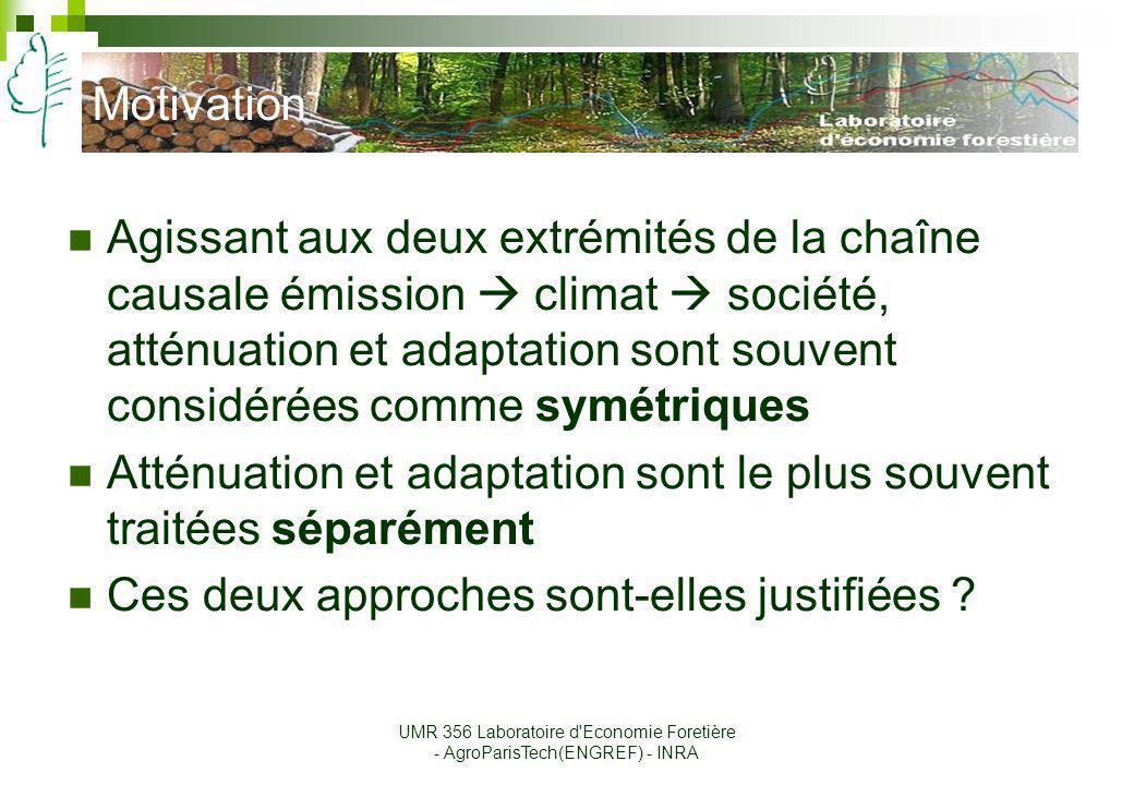 Motivation Agissant aux deux extrémités de la chaîne causale émission climat société, atténuation et adaptation sont souvent considérées comme symétri