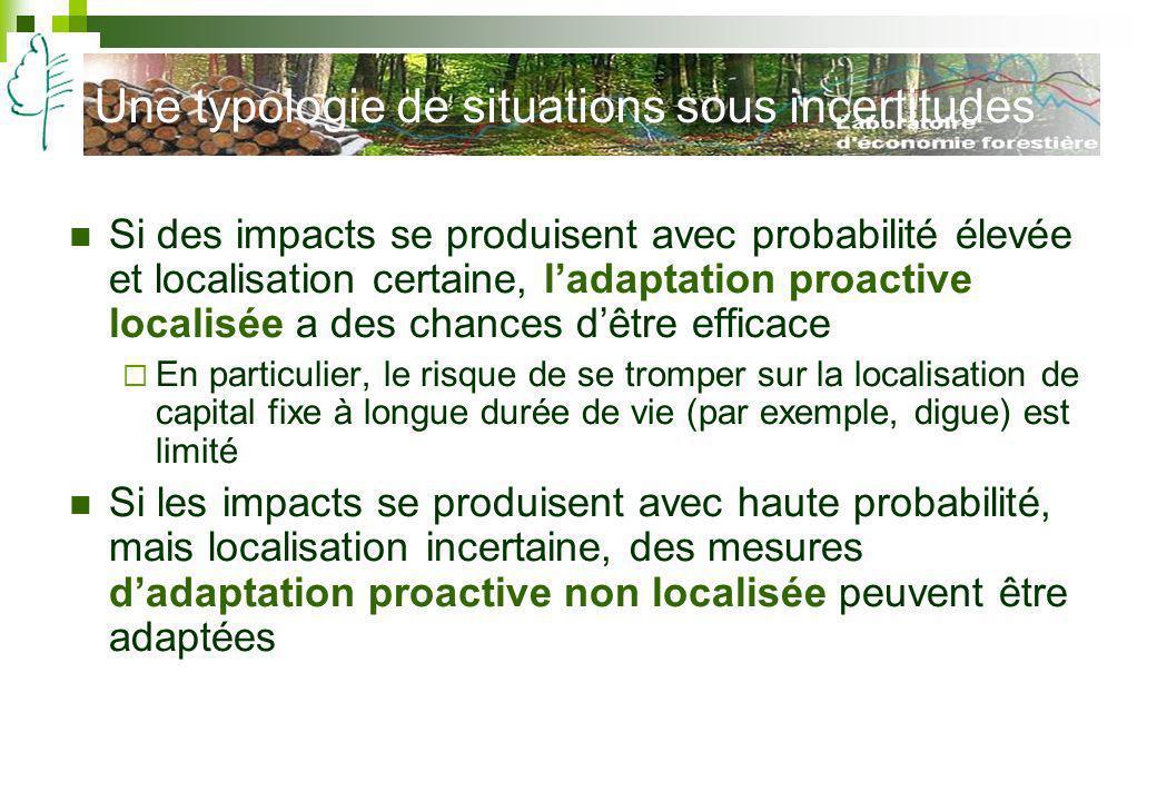 Une typologie de situations sous incertitudes Si des impacts se produisent avec probabilité élevée et localisation certaine, ladaptation proactive loc