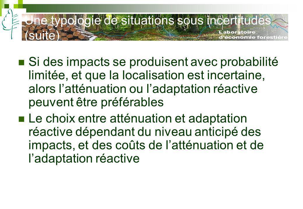 Une typologie de situations sous incertitudes (suite) Si des impacts se produisent avec probabilité limitée, et que la localisation est incertaine, al
