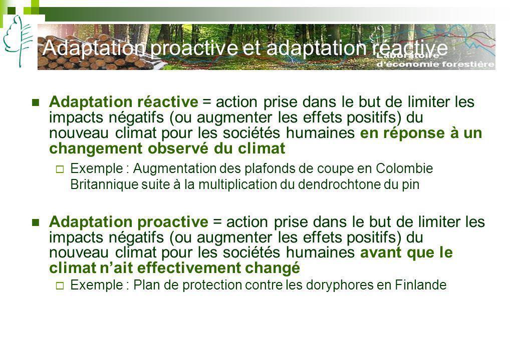 Adaptation proactive et adaptation réactive Adaptation réactive = action prise dans le but de limiter les impacts négatifs (ou augmenter les effets po