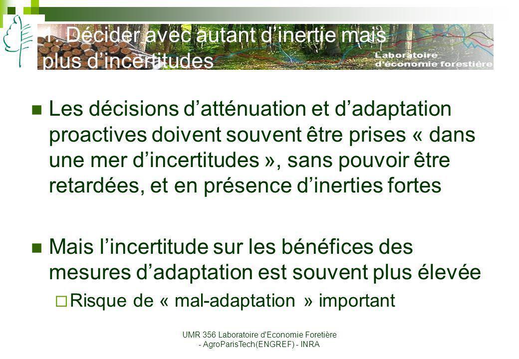 Conclusion Adaptation et atténuation ne sont pas symétriques, et les deux doivent être mises en œuvre en parallèle Adaptation et atténuation sont liées, à tous les niveaux, et requièrent une analyse et une négociation en commun Adaptation et atténuation ne peuvent se discuter indépendamment des stratégies de développement UMR 356 Laboratoire d Economie Foretière - AgroParisTech(ENGREF) - INRA