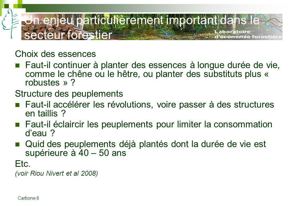Carbone 6 Un enjeu particulièrement important dans le secteur forestier Choix des essences Faut-il continuer à planter des essences à longue durée de