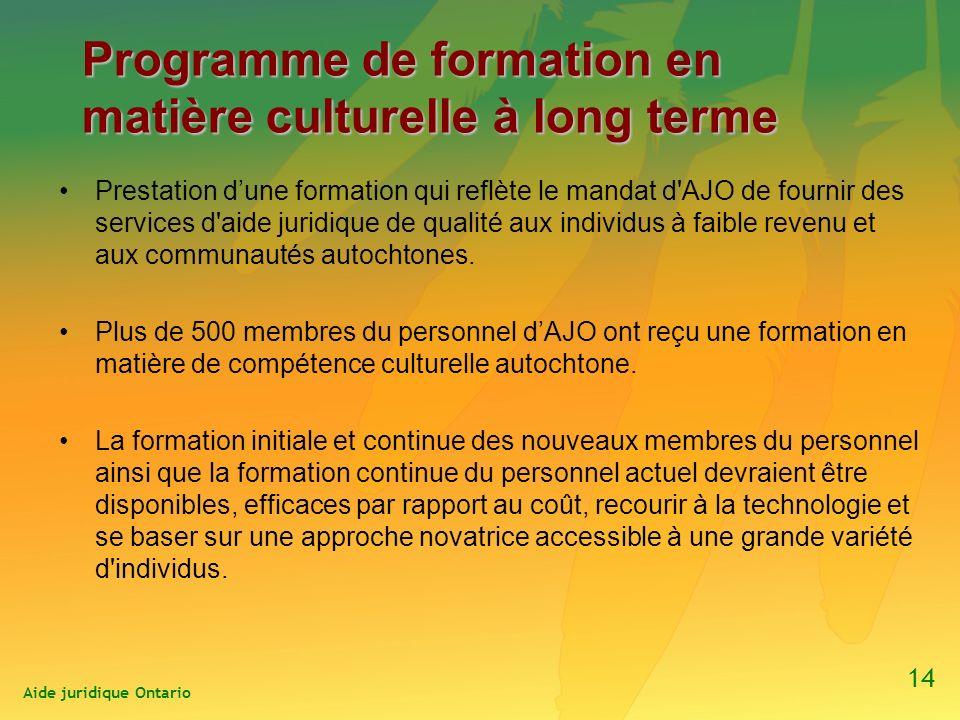 Programme de formation en matière culturelle à long terme Prestation dune formation qui reflète le mandat d AJO de fournir des services d aide juridique de qualité aux individus à faible revenu et aux communautés autochtones.