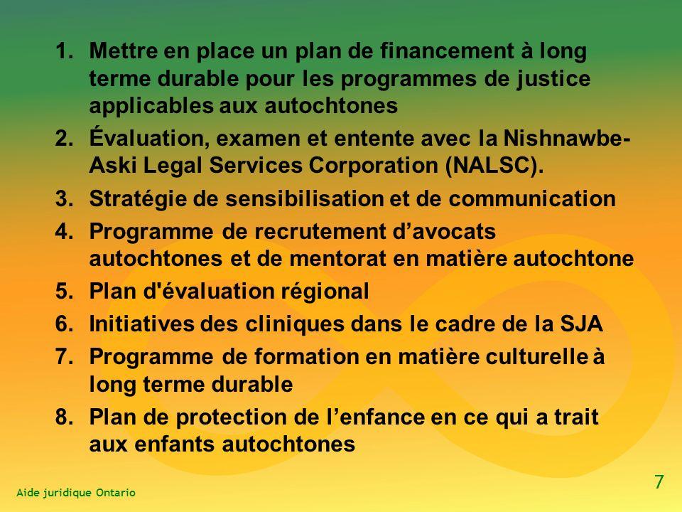 1.Mettre en place un plan de financement à long terme durable pour les programmes de justice applicables aux autochtones 2.Évaluation, examen et entente avec la Nishnawbe- Aski Legal Services Corporation (NALSC).