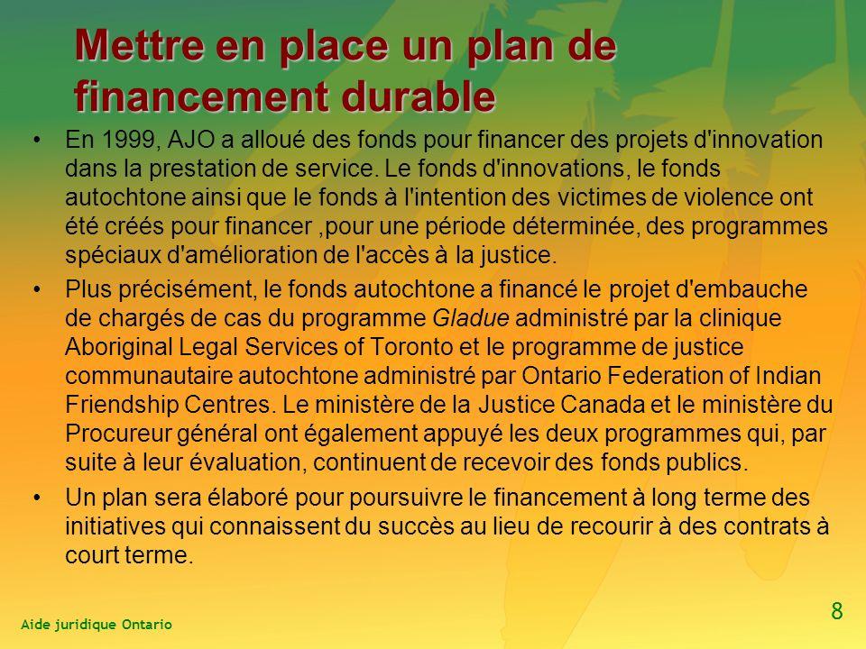 Mettre en place un plan de financement durable En 1999, AJO a alloué des fonds pour financer des projets d innovation dans la prestation de service.