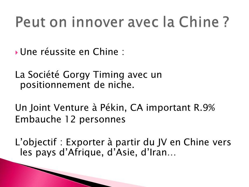 Une réussite en Chine : La Société Gorgy Timing avec un positionnement de niche. Un Joint Venture à Pékin, CA important R.9% Embauche 12 personnes Lob