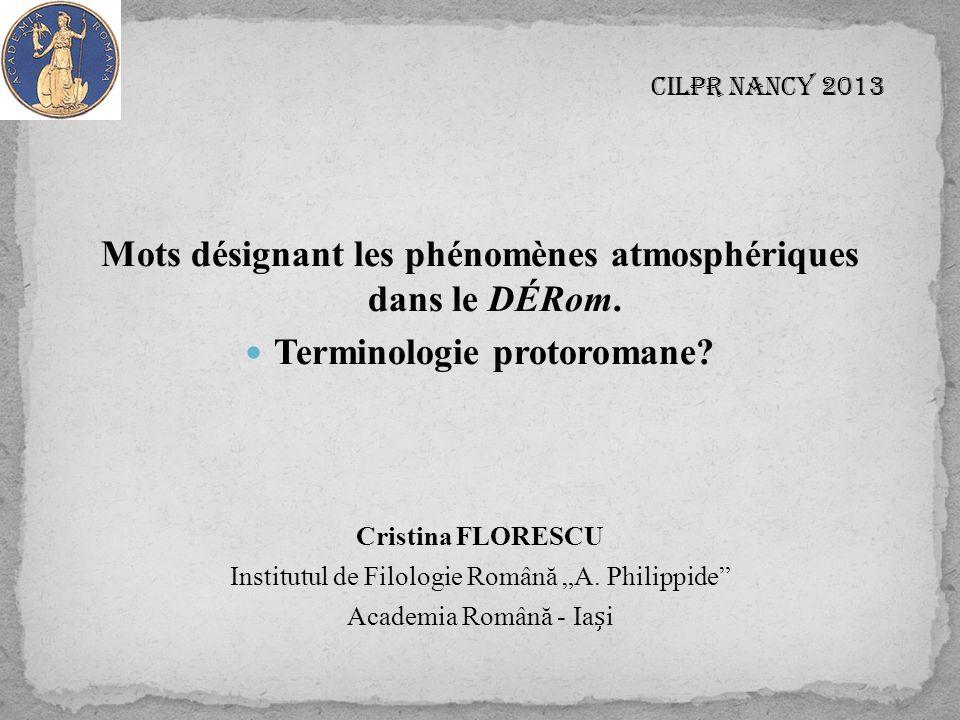 CILPR Nancy 2013 Mots désignant les phénomènes atmosphériques dans le DÉRom.