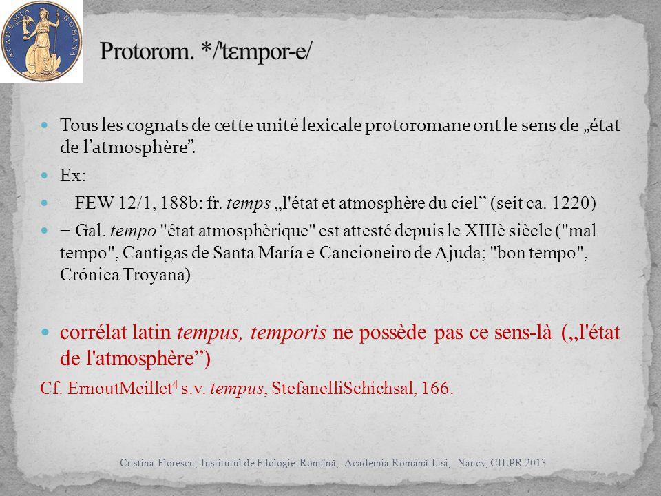 Tous les cognats de cette unité lexicale protoromane ont le sens de état de latmosphère.