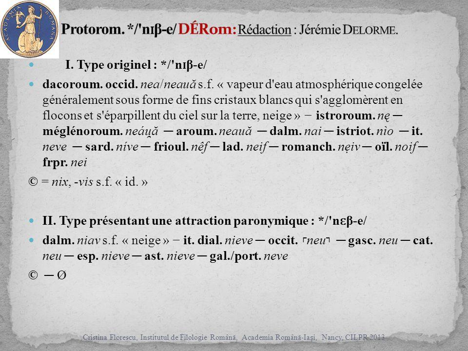 I. Type originel : */ n ɪ β-e/ dacoroum. occid. nea/neauă s.f.