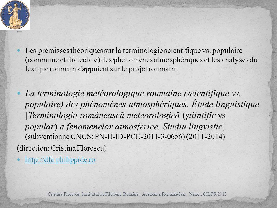 Les prémisses théoriques sur la terminologie scientifique vs.