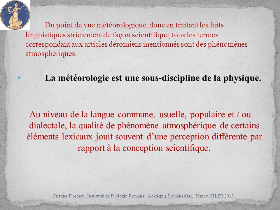 Du point de vue météorologique, donc en traitant les faits linguistiques strictement de façon scientifique, tous les termes correspondant aux articles déromiens mentionnés sont des phénomènes atmosphériques.
