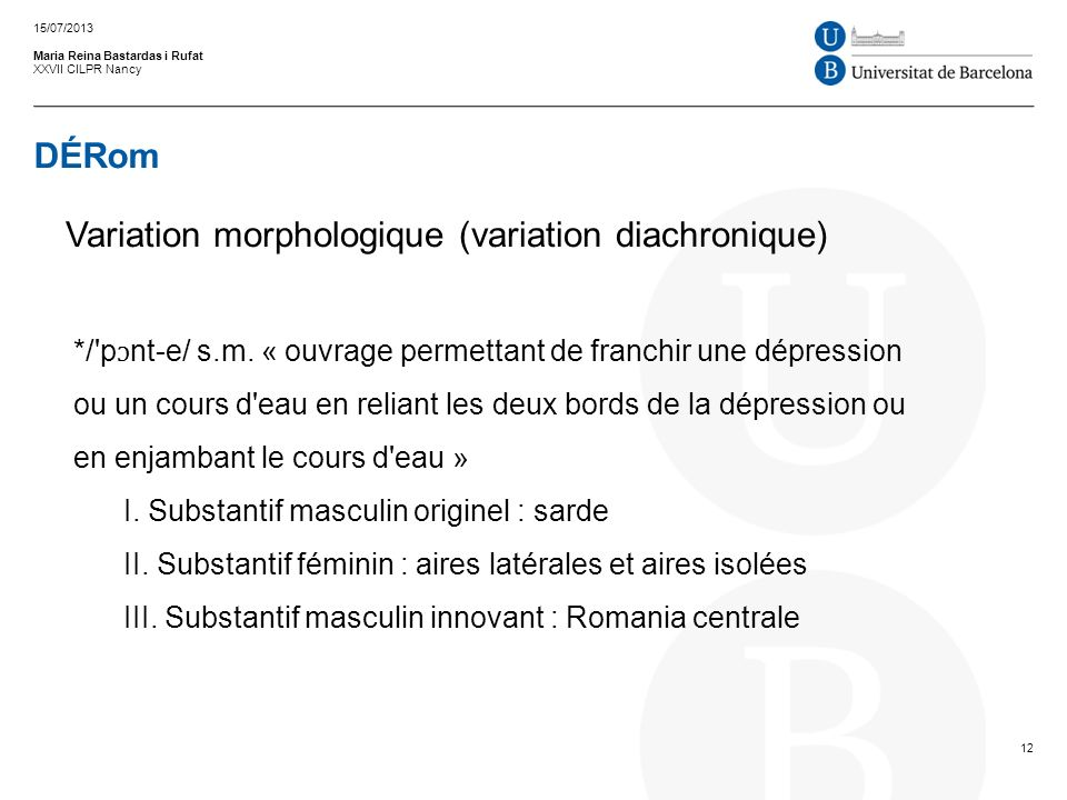 DÉRom Maria Reina Bastardas i Rufat XXVII CILPR Nancy 15/07/2013 12 Variation morphologique (variation diachronique) */'p ɔ nt e/ s.m. « ouvrage perme