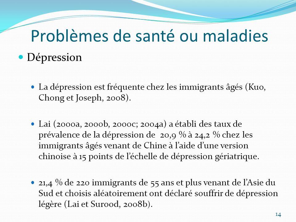 Problèmes de santé ou maladies Dépression La dépression est fréquente chez les immigrants âgés (Kuo, Chong et Joseph, 2008). Lai (2000a, 2000b, 2000c;