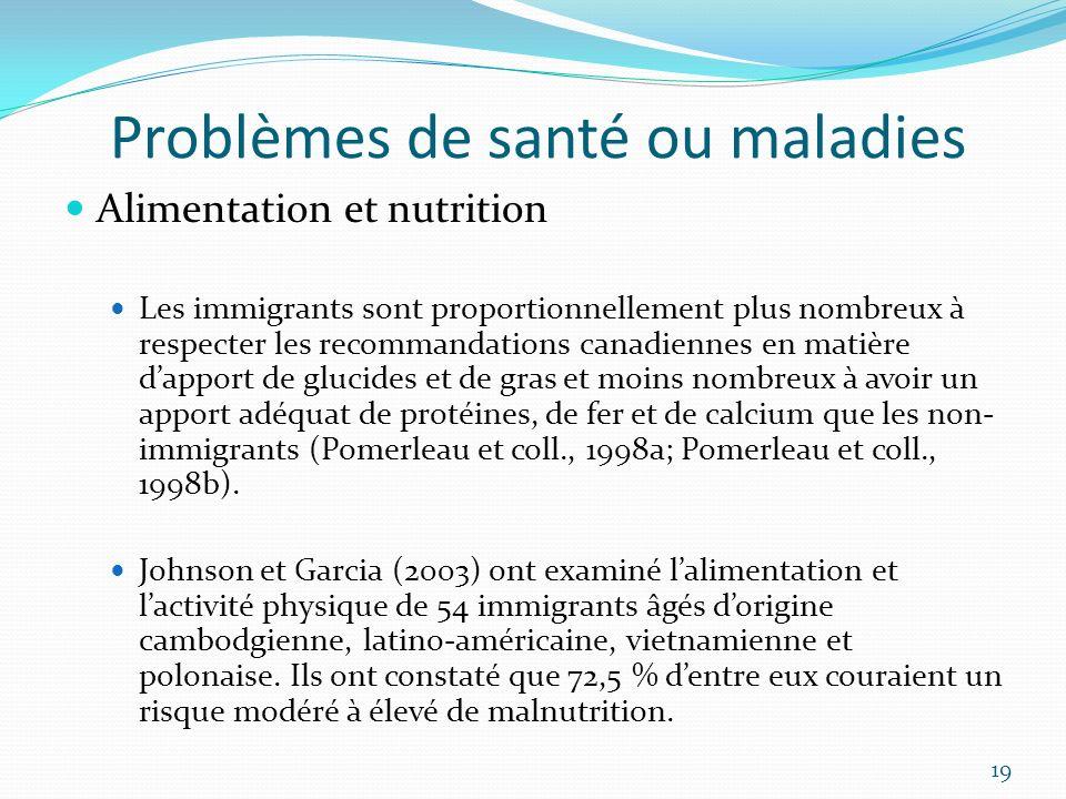 Problèmes de santé ou maladies Alimentation et nutrition Les immigrants sont proportionnellement plus nombreux à respecter les recommandations canadie