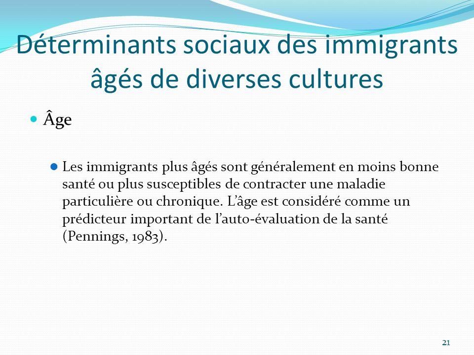 Déterminants sociaux des immigrants âgés de diverses cultures Âge Les immigrants plus âgés sont généralement en moins bonne santé ou plus susceptibles
