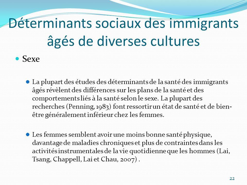 Déterminants sociaux des immigrants âgés de diverses cultures Sexe La plupart des études des déterminants de la santé des immigrants âgés révèlent des