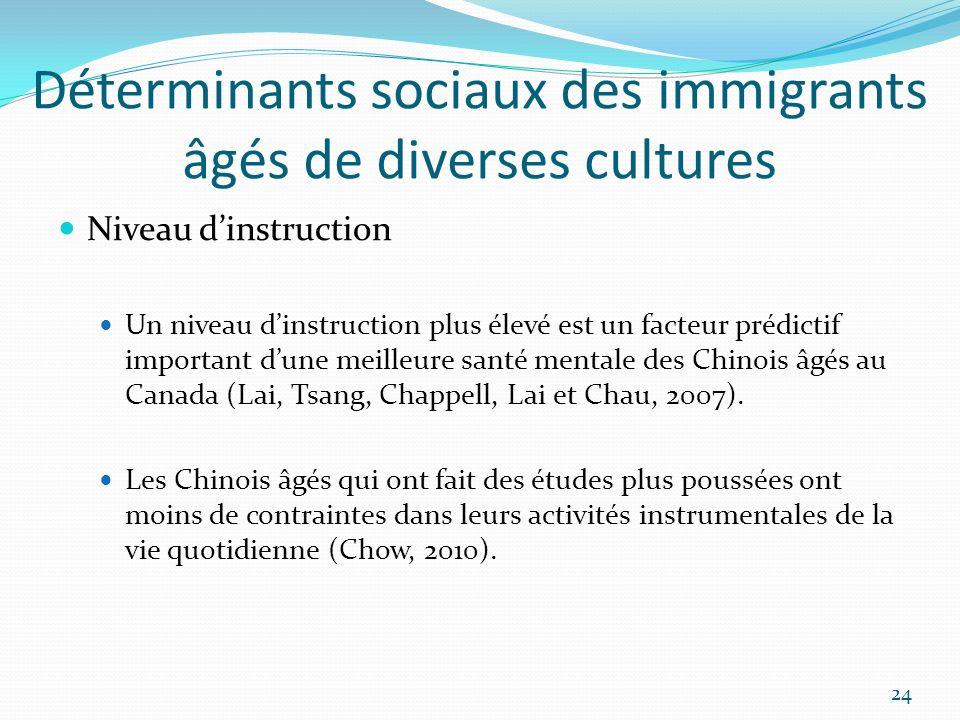 Déterminants sociaux des immigrants âgés de diverses cultures Niveau dinstruction Un niveau dinstruction plus élevé est un facteur prédictif important