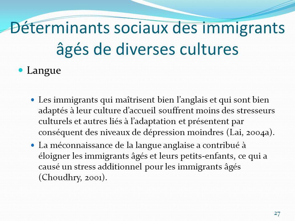 Déterminants sociaux des immigrants âgés de diverses cultures Langue Les immigrants qui maîtrisent bien langlais et qui sont bien adaptés à leur cultu