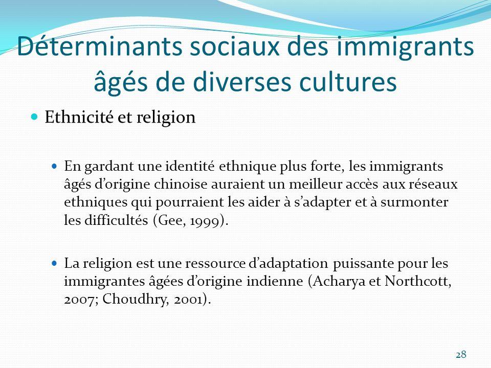 Déterminants sociaux des immigrants âgés de diverses cultures Ethnicité et religion En gardant une identité ethnique plus forte, les immigrants âgés d