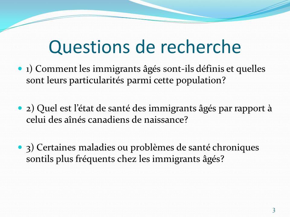 Questions de recherche 1) Comment les immigrants âgés sont-ils définis et quelles sont leurs particularités parmi cette population? 2) Quel est létat