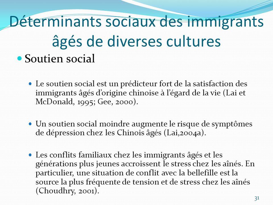 Déterminants sociaux des immigrants âgés de diverses cultures Soutien social Le soutien social est un prédicteur fort de la satisfaction des immigrant