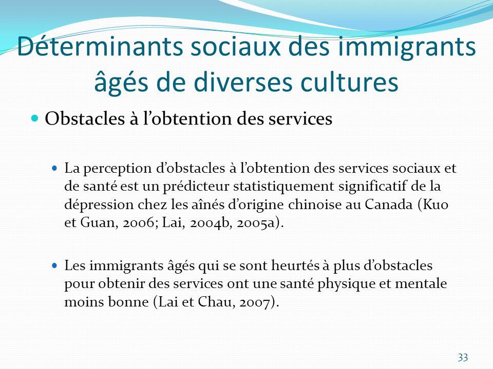 Déterminants sociaux des immigrants âgés de diverses cultures Obstacles à lobtention des services La perception dobstacles à lobtention des services s