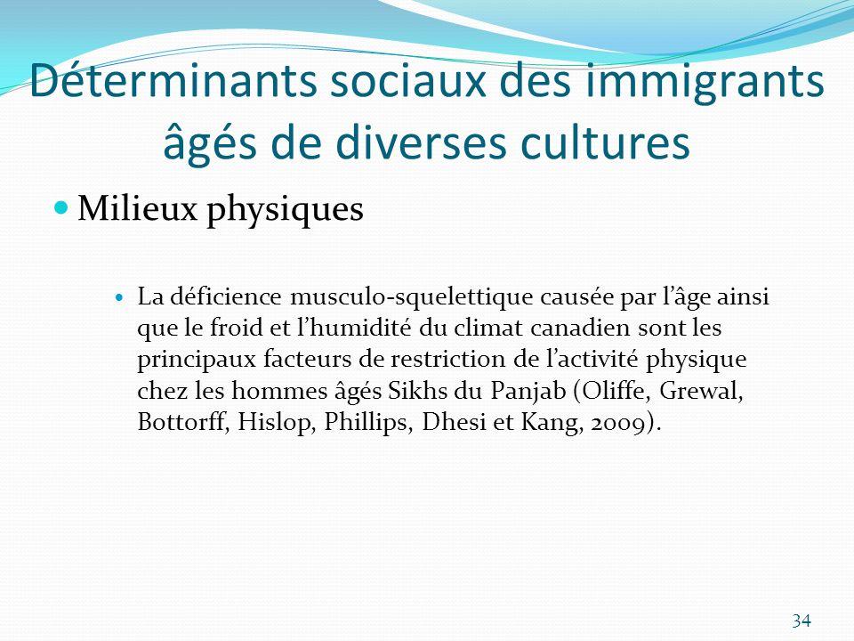 Déterminants sociaux des immigrants âgés de diverses cultures Milieux physiques La déficience musculo-squelettique causée par lâge ainsi que le froid