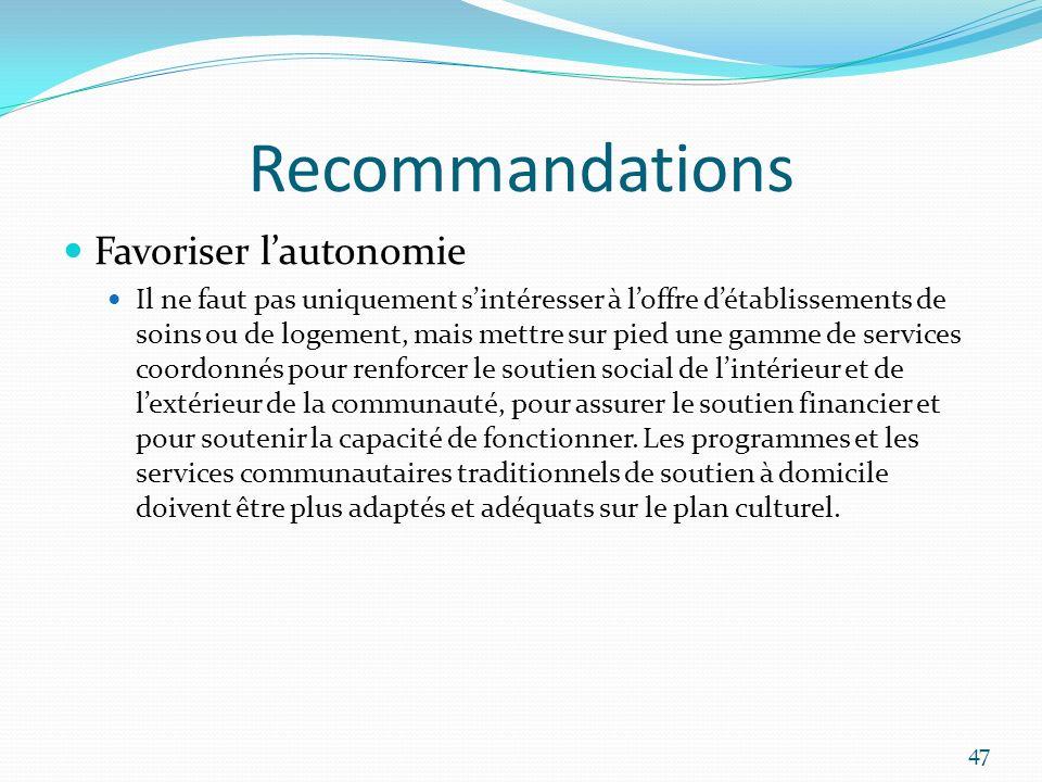 Recommandations Favoriser lautonomie Il ne faut pas uniquement sintéresser à loffre détablissements de soins ou de logement, mais mettre sur pied une