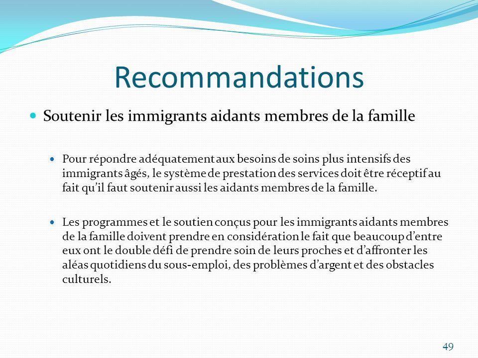 Recommandations Soutenir les immigrants aidants membres de la famille Pour répondre adéquatement aux besoins de soins plus intensifs des immigrants âg