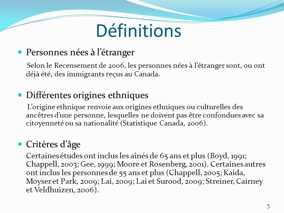 Définitions Personnes nées à létranger Selon le Recensement de 2006, les personnes nées à létranger sont, ou ont déjà été, des immigrants reçus au Can
