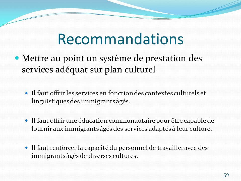 Recommandations Mettre au point un système de prestation des services adéquat sur plan culturel Il faut offrir les services en fonction des contextes